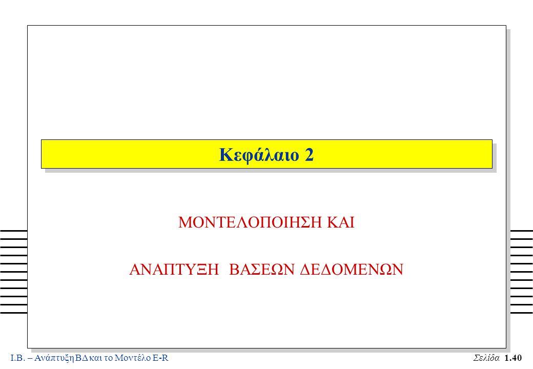 Ι.Β. – Ανάπτυξη ΒΔ και το Μοντέλο E-RΣελίδα 1.40 Κεφάλαιο 2 MONTEΛΟΠΟΙΗΣΗ ΚΑΙ ΑΝΑΠΤΥΞΗ ΒΑΣΕΩΝ ΔΕΔΟΜΕΝΩΝ