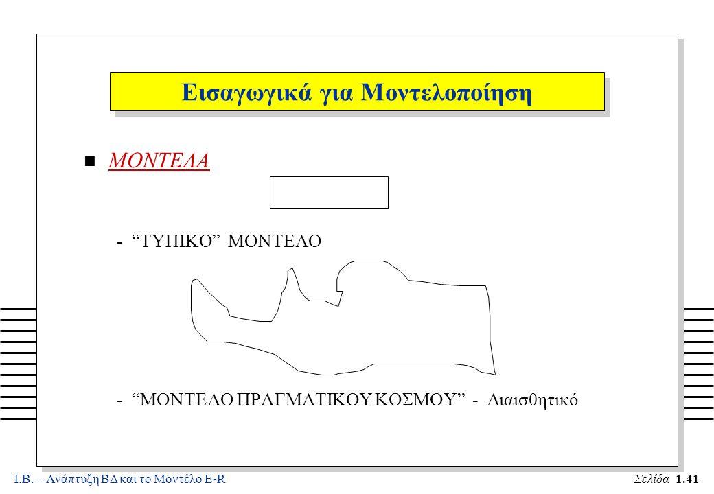 """Ι.Β. – Ανάπτυξη ΒΔ και το Μοντέλο E-RΣελίδα 1.41 Εισαγωγικά για Μοντελοποίηση n ΜΟΝΤΕΛΑ - """"ΤΥΠΙΚΟ"""" ΜΟΝΤΕΛΟ - """"ΜΟΝΤΕΛΟ ΠΡΑΓΜΑΤΙΚΟΥ ΚΟΣΜΟΥ"""" - Διαισθητικ"""
