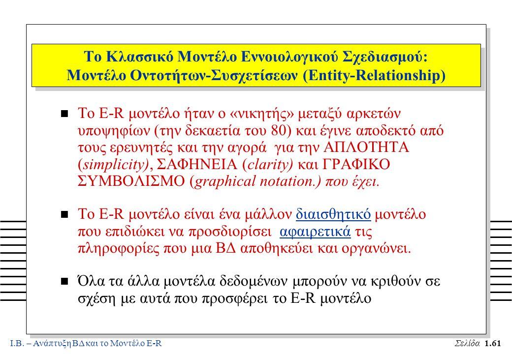 Ι.Β. – Ανάπτυξη ΒΔ και το Μοντέλο E-RΣελίδα 1.61 Το Κλασσικό Μοντέλο Εννοιολογικού Σχεδιασμού: Μοντέλο Οντοτήτων-Συσχετίσεων (Entity-Relationship) n Τ