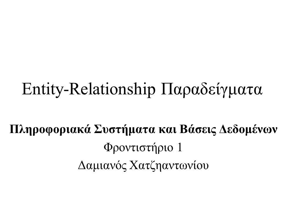 Entity-Relationship Παραδείγματα Πληροφοριακά Συστήματα και Βάσεις Δεδομένων Φροντιστήριο 1 Δαμιανός Χατζηαντωνίου