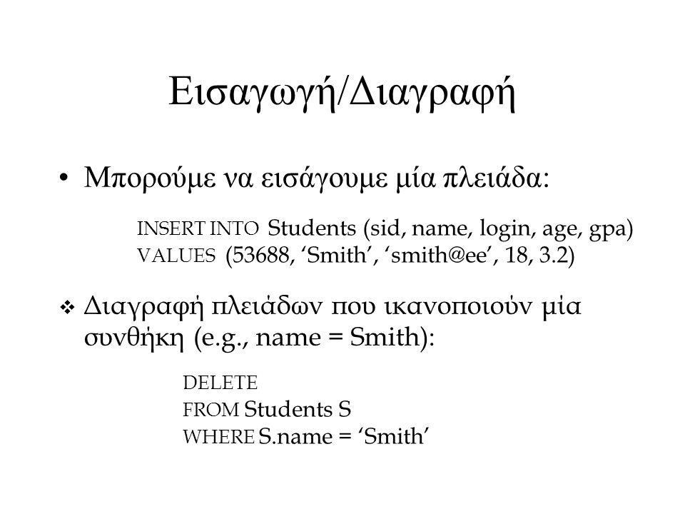 Εισαγωγή/Διαγραφή Μπορούμε να εισάγουμε μία πλειάδα: INSERT INTO Students (sid, name, login, age, gpa) VALUES (53688, 'Smith', 'smith@ee', 18, 3.2)  Διαγραφή πλειάδων που ικανοποιούν μία συνθήκη (e.g., name = Smith): DELETE FROM Students S WHERE S.name = 'Smith'