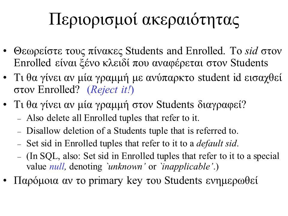 Περιορισμοί ακεραιότητας Θεωρείστε τους πίνακες Students and Enrolled.