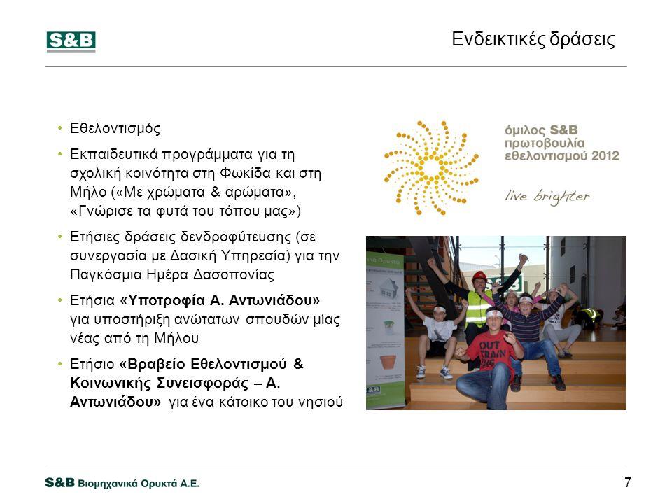 Ενδεικτικές δράσεις 7 Εθελοντισμός Εκπαιδευτικά προγράμματα για τη σχολική κοινότητα στη Φωκίδα και στη Μήλο («Με χρώματα & αρώματα», «Γνώρισε τα φυτά του τόπου μας») Ετήσιες δράσεις δενδροφύτευσης (σε συνεργασία με Δασική Υπηρεσία) για την Παγκόσμια Ημέρα Δασοπονίας Ετήσια «Υποτροφία Α.