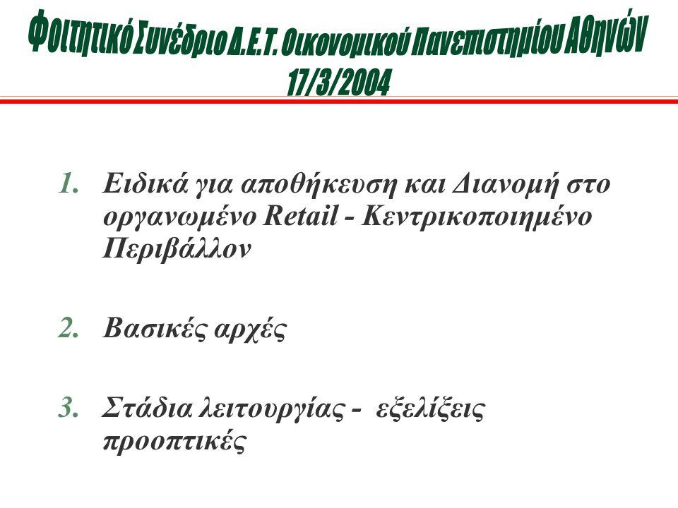 1.Ειδικά για αποθήκευση και Διανομή στο οργανωμένο Retail - Κεντρικοποιημένο Περιβάλλον 2.Βασικές αρχές 3.Στάδια λειτουργίας - εξελίξεις προοπτικές