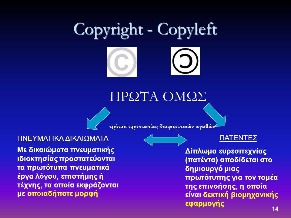 14 Copyright - Copyleft ΠΡΩΤΑ ΟΜΩΣ ΠΝΕΥΜΑΤΙΚΑ ΔΙΚΑΙΩΜΑΤΑ ΠΑΤΕΝΤΕΣ τρόποι προστασίας διαφορετικών αγαθών Με δικαιώματα πνευματικής ιδιοκτησίας προστατε
