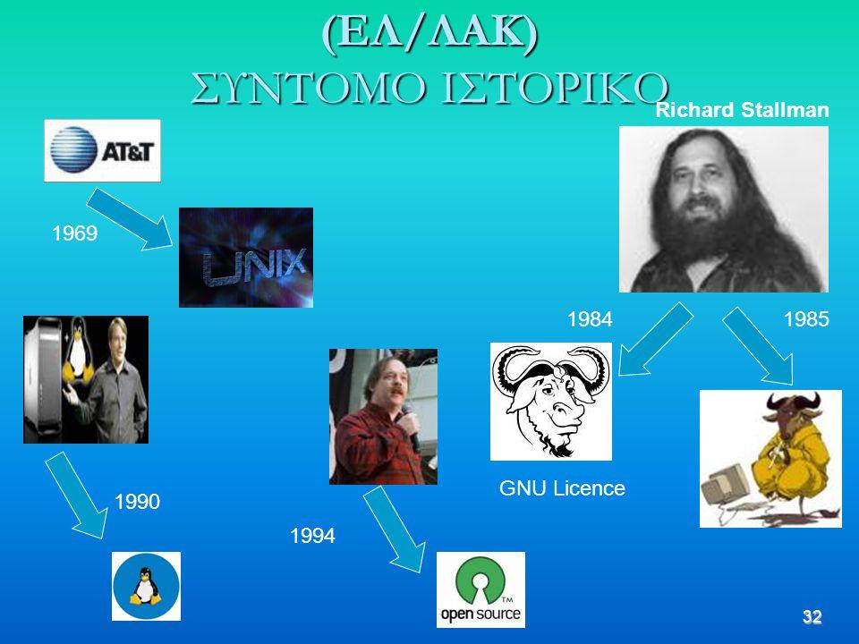 32 (ΕΛ/ΛΑΚ) ΣΥΝΤΟΜΟ ΙΣΤΟΡΙΚΟ 1969 1984 Richard Stallman GNU Licence 1985 1990 1994