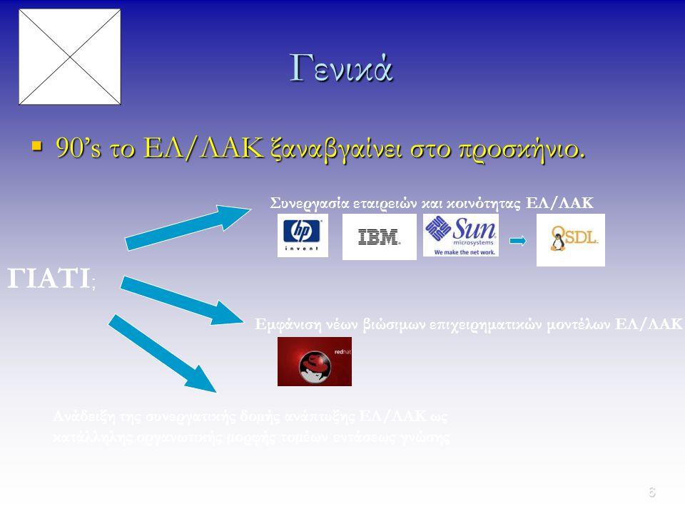 7 Συμπέρασμα Το ΕΛ/ΛΑΚ τείνει να µεταστρέψει την αντίληψη που έχει ο κλάδος ανάπτυξης λογισµικού για τον τρόπο λειτουργίας του, από ένα εργοστασιακό µοντέλο, όπου οι λύσεις λογισµικού αποτελούν το τελικό προϊόν, σε ένα µοντέλο παροχής υπηρεσιών