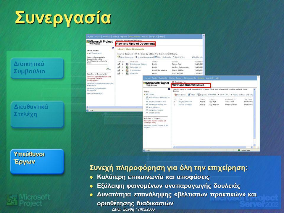 ΔΠΘ, Ξάνθη 17/05/2003 Συνεργασία Υπεύθυνοι Έργων Διοικητικό Συμβούλιο Διευθυντικά Στελέχη Συνεχή πληροφόρηση για όλη την επιχείρηση: Καλύτερη επικοινω