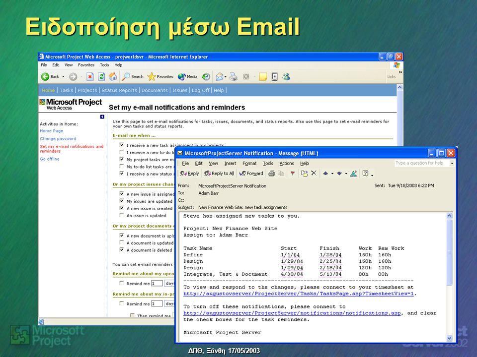 ΔΠΘ, Ξάνθη 17/05/2003 Ειδοποίηση μέσω Email
