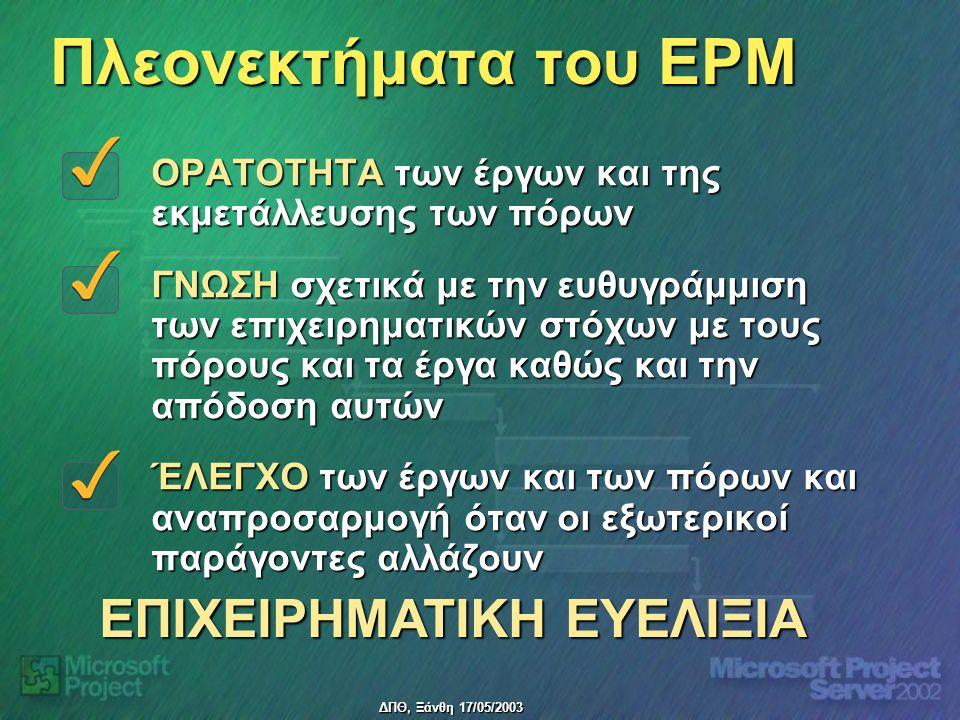 ΔΠΘ, Ξάνθη 17/05/2003 Πλεονεκτήματα του EPM ΟΡΑΤΟΤΗΤΑ των έργων και της εκμετάλλευσης των πόρων ΓΝΩΣΗ σχετικά με την ευθυγράμμιση των επιχειρηματικών στόχων με τους πόρους και τα έργα καθώς και την απόδοση αυτών ΈΛΕΓΧΟ των έργων και των πόρων και αναπροσαρμογή όταν οι εξωτερικοί παράγοντες αλλάζουν ΕΠΙΧΕΙΡΗΜΑΤΙΚΗ ΕΥΕΛΙΞΙΑ