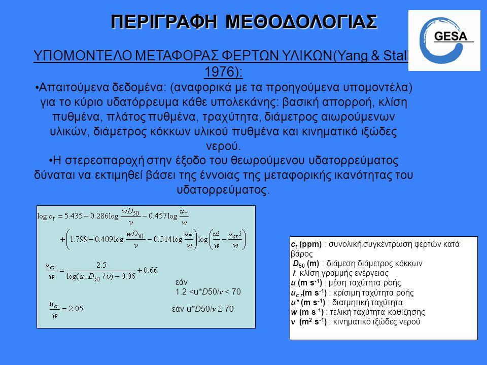 ΥΠΟΜΟΝΤΕΛΟ ΜΕΤΑΦΟΡΑΣ ΦΕΡΤΩΝ ΥΛΙΚΩΝ(Yang & Stall, 1976): Απαιτούμενα δεδομένα: (αναφορικά με τα προηγούμενα υπομοντέλα) για το κύριο υδατόρρευμα κάθε υ