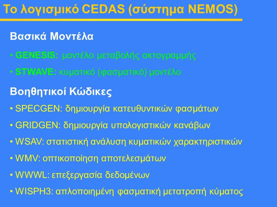 To λογισμικό CEDAS (σύστημα NEMOS) GENESIS: μοντέλο μεταβολής ακτογραμμής STWAVE: κυματικό (φασματικό) μοντέλο Βασικά Μοντέλα Βοηθητικοί Κώδικες SPECG