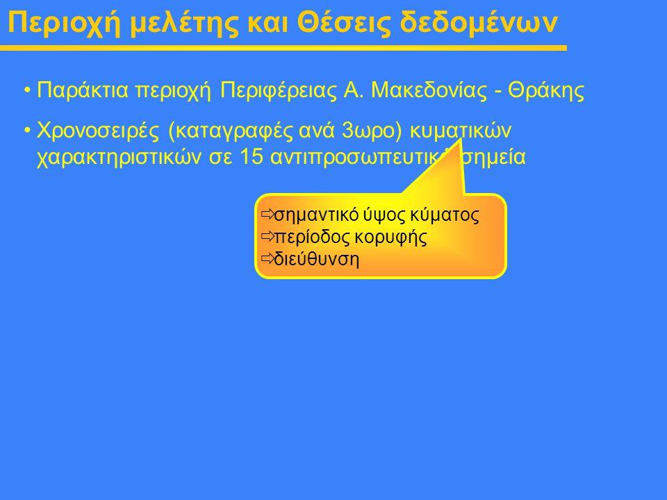 Περιοχή μελέτης και Θέσεις δεδομένων Παράκτια περιοχή Περιφέρειας Α. Μακεδονίας - Θράκης Χρονοσειρές (καταγραφές ανά 3ωρο) κυματικών χαρακτηριστικών σ
