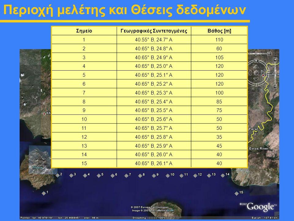 ΣημείοΓεωγραφικές ΣυντεταγμένεςΒάθος [m] 1 40.55° Β, 24.7° Α110 2 40.65° Β, 24.8° Α60 3 40.65° Β, 24.9° Α105 4 40.65° Β, 25.0° Α120 5 40.65° Β, 25.1°