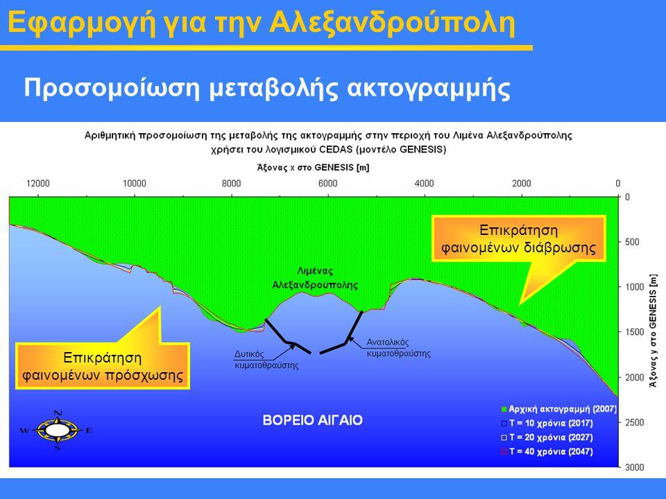 Εισαγωγή τεχνικών έργων Λιμένα Προσομοίωση μεταβολής ακτογραμμής Εφαρμογή για την Αλεξανδρούπολη Επικράτηση φαινομένων πρόσχωσης Επικράτηση φαινομένων