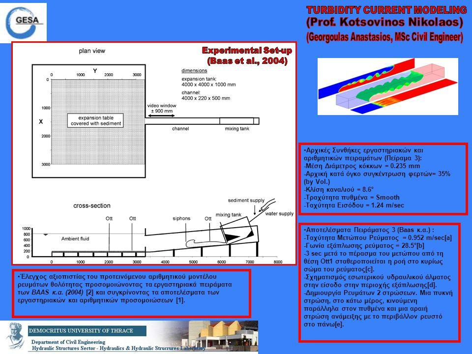 Έλεγχος αξιοπιστίας του προτεινόμενου αριθμητικού μοντέλου ρευμάτων θολότητας προσομοιώνοντας τα εργαστηριακά πειράματα των BAAS κ.α. (2004) [2] και σ