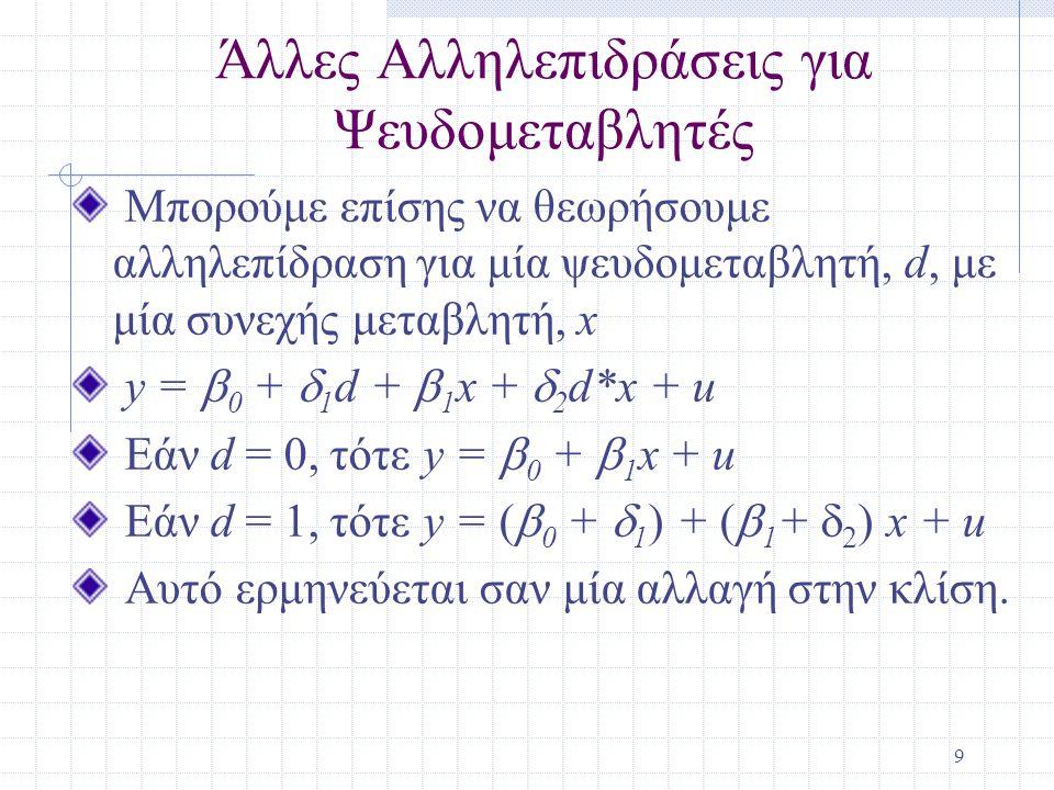 9 Άλλες Αλληλεπιδράσεις για Ψευδομεταβλητές Μπορούμε επίσης να θεωρήσουμε αλληλεπίδραση για μία ψευδομεταβλητή, d, με μία συνεχής μεταβλητή, x y =  0 +  1 d +  1 x +  2 d*x + u Εάν d = 0, τότε y =  0 +  1 x + u Εάν d = 1, τότε y = (  0 +  1 ) + (  1 +  2 ) x + u Αυτό ερμηνεύεται σαν μία αλλαγή στην κλίση.