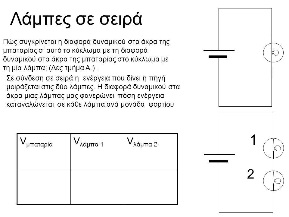Λάμπες σε σειρά 1 2 V μπαταρία V λάμπα 1 V λάμπα 2 Πώς συγκρίνεται η διαφορά δυναμικού στα άκρα της μπαταρίας σ' αυτό το κύκλωμα με τη διαφορά δυναμικ