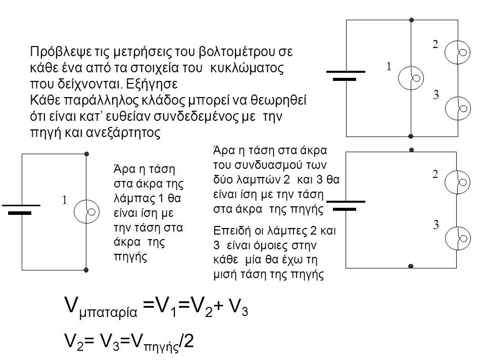 1 2 3 V μπαταρία =V 1 =V 2 + V 3 V 2 = V 3 =V πηγής /2 Πρόβλεψε τις μετρήσεις του βολτομέτρου σε κάθε ένα από τα στοιχεία του κυκλώματος που δείχνοντα