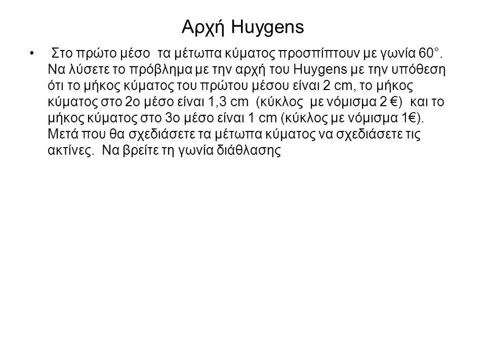 Αρχή Huygens Στο πρώτο μέσο τα μέτωπα κύματος προσπίπτουν με γωνία 60°. Να λύσετε το πρόβλημα με την αρχή του Huygens με την υπόθεση ότι το μήκος κύμα