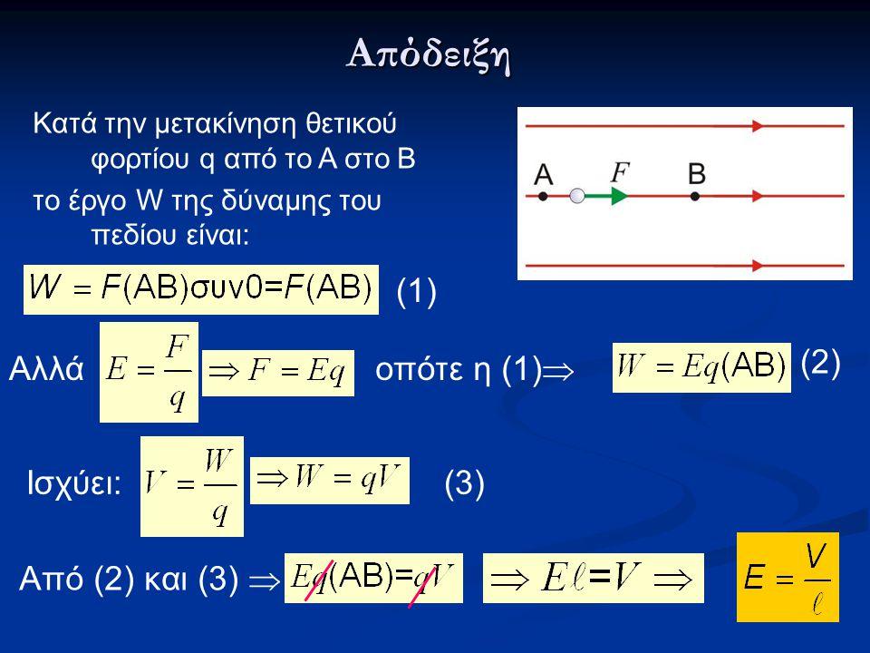 Απόδειξη Από (2) και (3)  Κατά την μετακίνηση θετικού φορτίου q από το Α στο Β το έργο W της δύναμης του πεδίου είναι: Ισχύει: Αλλά οπότε η (1)  (2)