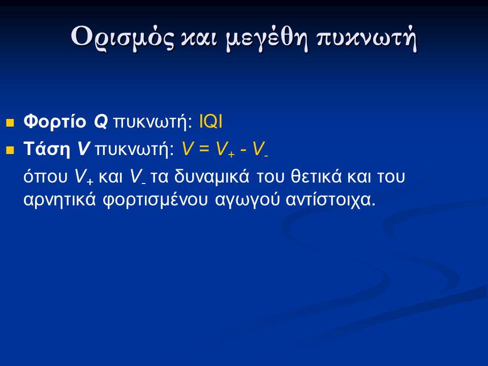 Ορισμός και μεγέθη πυκνωτή Φορτίο Q πυκνωτή: ΙQI Τάση V πυκνωτή: V = V + - V - όπου V + και V - τα δυναμικά του θετικά και του αρνητικά φορτισμένου αγ
