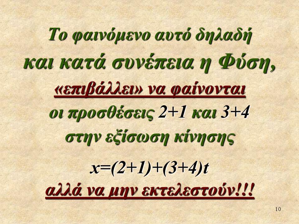 10 Το φαινόμενο αυτό δηλαδή και κατά συνέπεια η Φύση, «επιβάλλει» να φαίνονται οι προσθέσεις 2+1 και 3+4 στην εξίσωση κίνησης x=(2+1)+(3+4)t αλλά να μην εκτελεστούν!!!