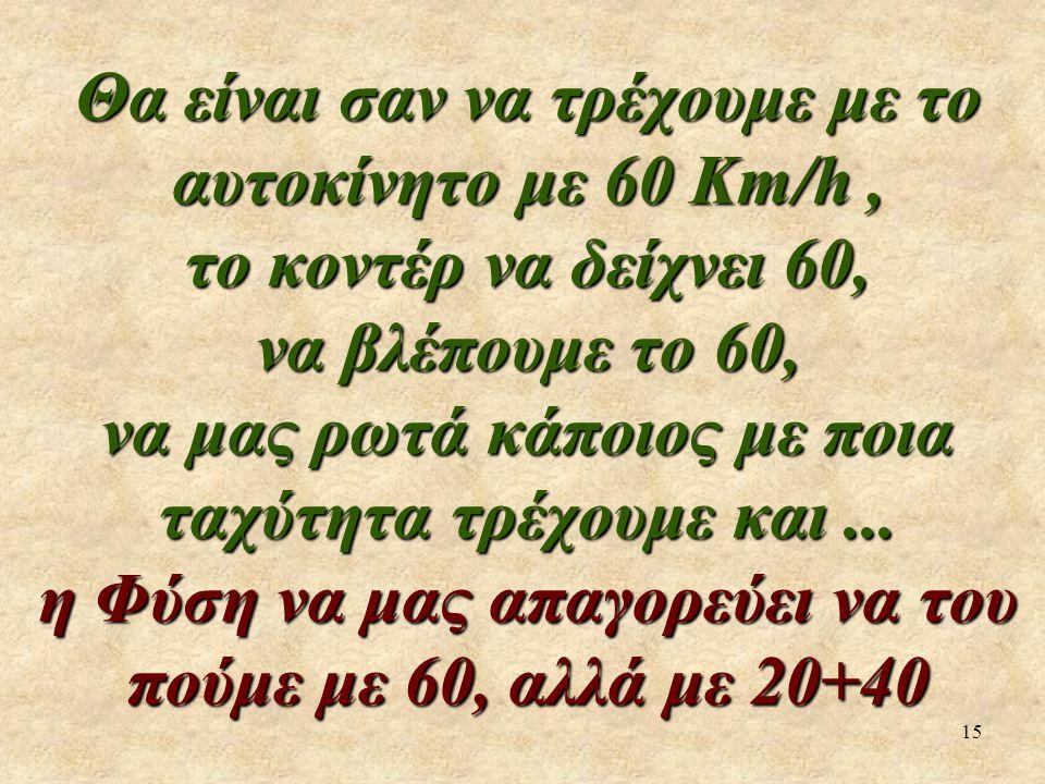 15 Θα είναι σαν να τρέχουμε με το αυτοκίνητο με 60 Km/h, το κοντέρ να δείχνει 60, να βλέπουμε το 60, να μας ρωτά κάποιος με ποια ταχύτητα τρέχουμε και...