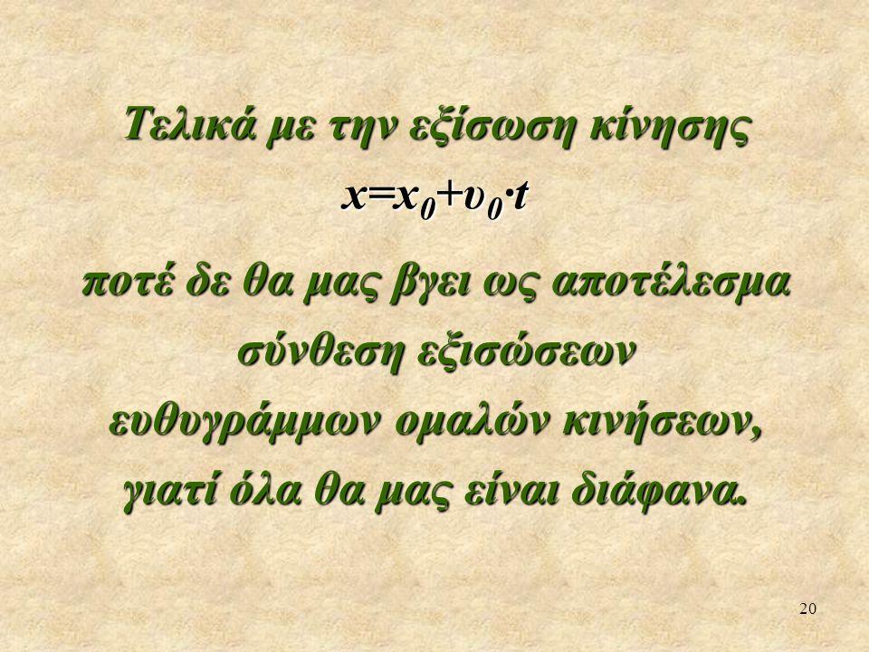 20 Τελικά με την εξίσωση κίνησης x=x 0 +υ 0 ·t ποτέ δε θα μας βγει ως αποτέλεσμα σύνθεση εξισώσεων ευθυγράμμων ομαλών κινήσεων, γιατί όλα θα μας είναι διάφανα.
