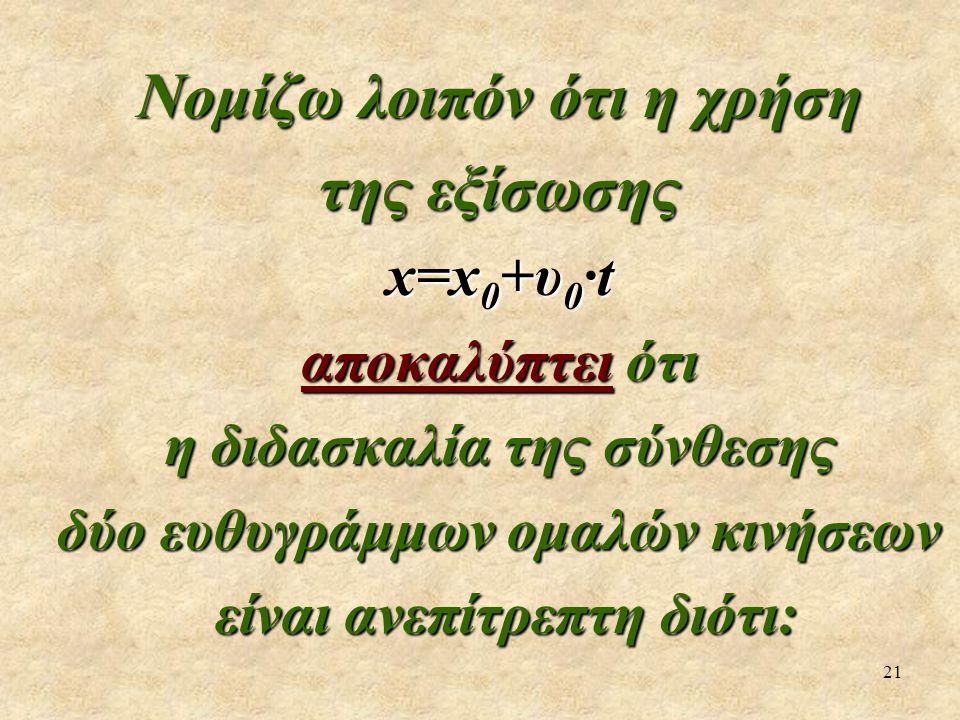 21 Νομίζω λοιπόν ότι η χρήση της εξίσωσης x=x 0 +υ 0 ·t αποκαλύπτει ότι η διδασκαλία της σύνθεσης δύο ευθυγράμμων ομαλών κινήσεων είναι ανεπίτρεπτη διότι: είναι ανεπίτρεπτη διότι: