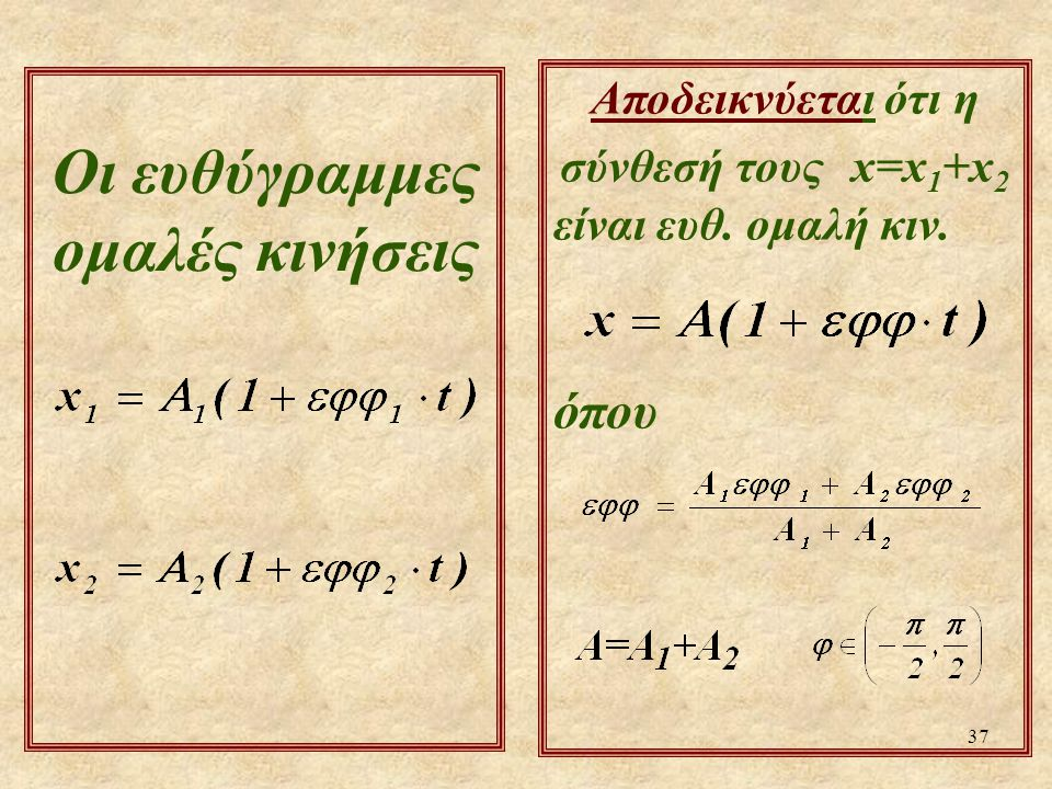 37 Αποδεικνύεται ότι η σύνθεσή τους x=x 1 +x 2 είναι ευθ. ομαλή κιν. όπου Οι ευθύγραμμες ομαλές κινήσεις