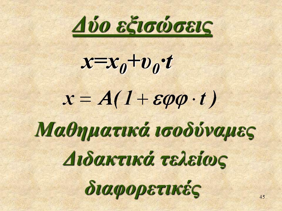 45 Δύο εξισώσεις x=x 0 +υ 0 ·t x=x 0 +υ 0 ·t Μαθηματικά ισοδύναμες Μαθηματικά ισοδύναμες Διδακτικά τελείως διαφορετικές Διδακτικά τελείως διαφορετικές