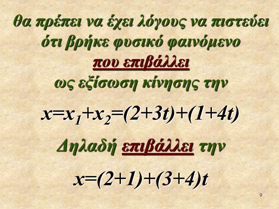 9 θα πρέπει να έχει λόγους να πιστεύει ότι βρήκε φυσικό φαινόμενο που επιβάλλει ως εξίσωση κίνησης την x=x 1 +x 2 =(2+3t)+(1+4t) Δηλαδή επιβάλλει την x=(2+1)+(3+4)t
