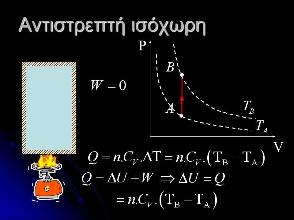 Θερμοδυναμική μελέτη μερικών αντιστρεπτών μεταβολών Ι Ισόχωρη σόθερμη σοβαρής Α Αδιαβατική