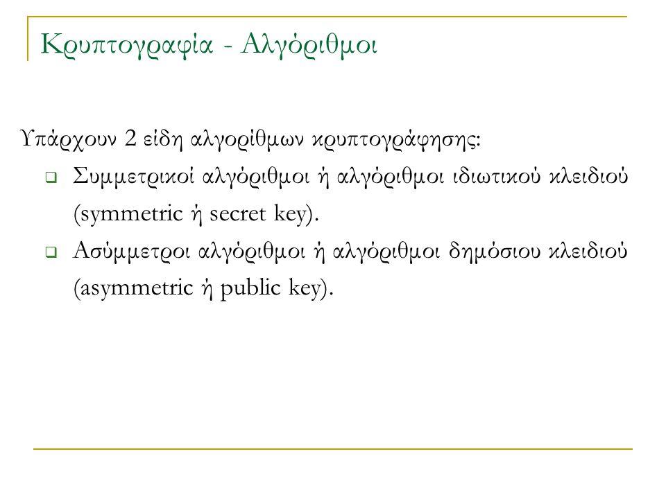 Υπάρχουν 2 είδη αλγορίθμων κρυπτογράφησης:  Συμμετρικοί αλγόριθμοι ή αλγόριθμοι ιδιωτικού κλειδιού (symmetric ή secret key).