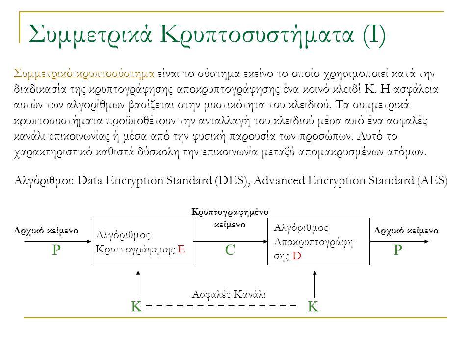 Συμμετρικά Κρυπτοσυστήματα (Ι) Συμμετρικό κρυπτοσύστημαΣυμμετρικό κρυπτοσύστημα είναι το σύστημα εκείνο το οποίο χρησιμοποιεί κατά την διαδικασία της κρυπτογράφησης-αποκρυπτογράφησης ένα κοινό κλειδί K.