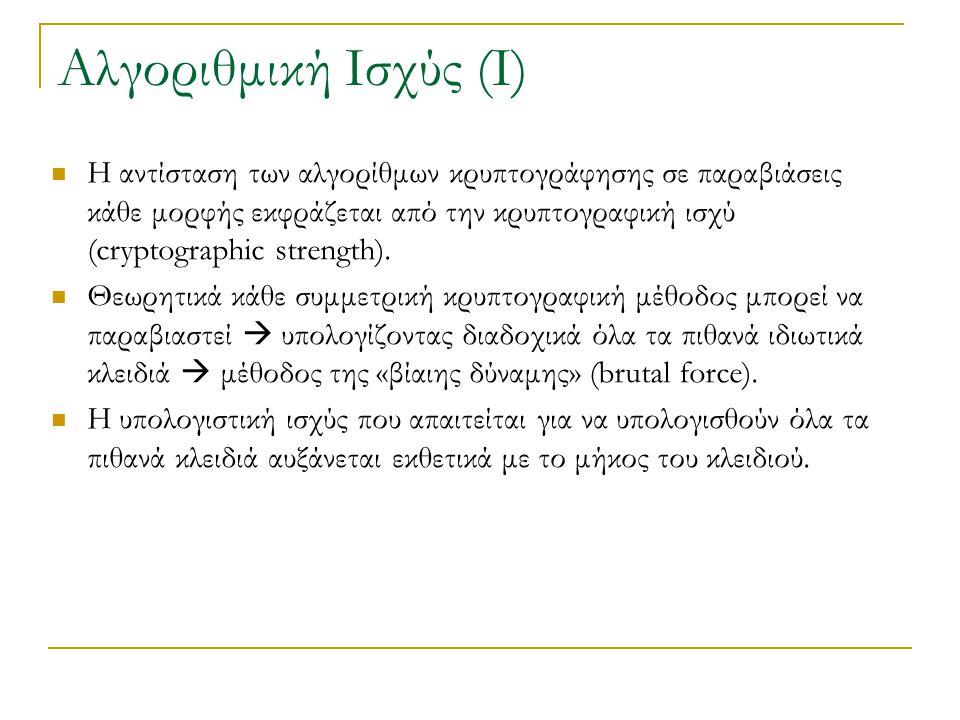 Η αντίσταση των αλγορίθμων κρυπτογράφησης σε παραβιάσεις κάθε μορφής εκφράζεται από την κρυπτογραφική ισχύ (cryptographic strength).