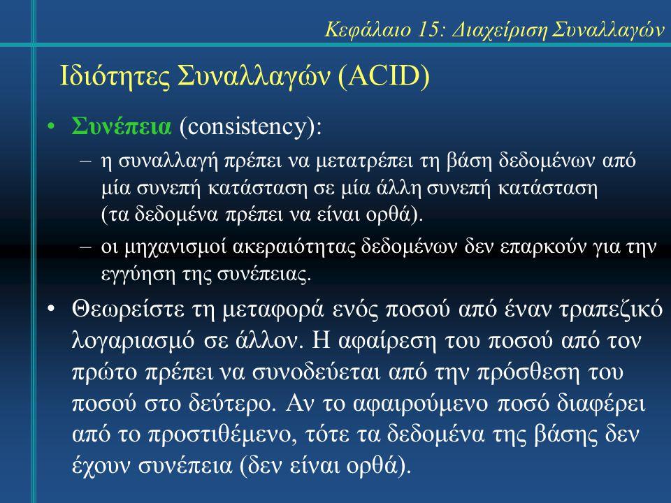 Κεφάλαιο 15: Διαχείριση Συναλλαγών Ιδιότητες Συναλλαγών (ACID) Συνέπεια (consistency): –η συναλλαγή πρέπει να μετατρέπει τη βάση δεδομένων από μία συνεπή κατάσταση σε μία άλλη συνεπή κατάσταση (τα δεδομένα πρέπει να είναι ορθά).