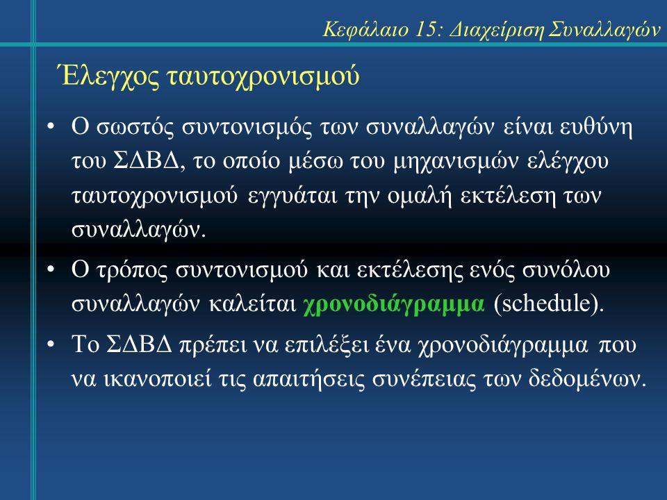 Κεφάλαιο 15: Διαχείριση Συναλλαγών Έλεγχος ταυτοχρονισμού Ο σωστός συντονισμός των συναλλαγών είναι ευθύνη του ΣΔΒΔ, το οποίο μέσω του μηχανισμών ελέγχου ταυτοχρονισμού εγγυάται την ομαλή εκτέλεση των συναλλαγών.