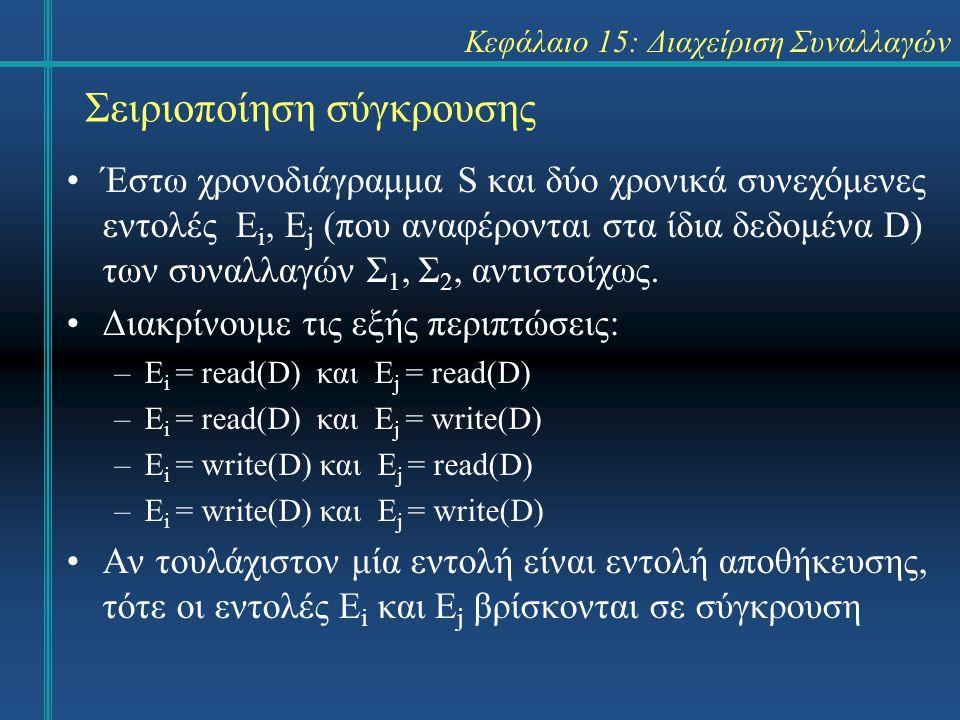 Κεφάλαιο 15: Διαχείριση Συναλλαγών Σειριοποίηση σύγκρουσης Έστω χρονοδιάγραμμα S και δύο χρονικά συνεχόμενες εντολές E i, E j (που αναφέρονται στα ίδια δεδομένα D) των συναλλαγών Σ 1, Σ 2, αντιστοίχως.