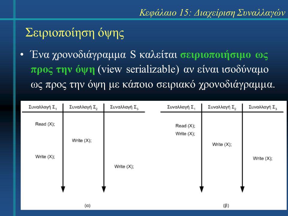 Κεφάλαιο 15: Διαχείριση Συναλλαγών Σειριοποίηση όψης Ένα χρονοδιάγραμμα S καλείται σειριοποιήσιμο ως προς την όψη (view serializable) αν είναι ισοδύναμο ως προς την όψη με κάποιο σειριακό χρονοδιάγραμμα.
