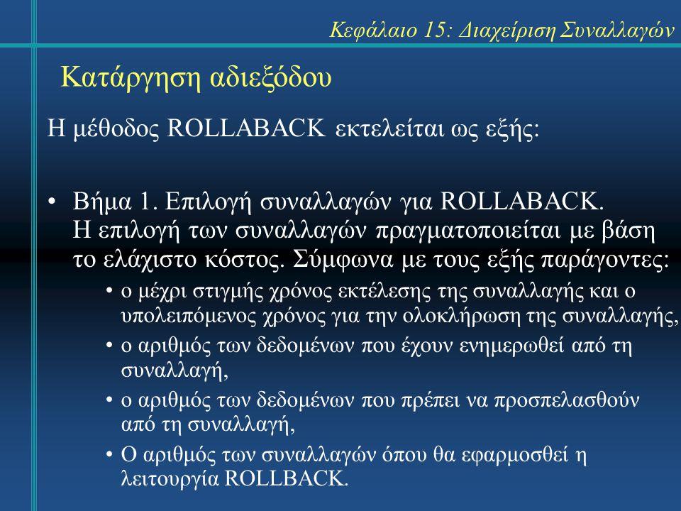 Κεφάλαιο 15: Διαχείριση Συναλλαγών Κατάργηση αδιεξόδου Η μέθοδος ROLLABACK εκτελείται ως εξής: Βήμα 1.