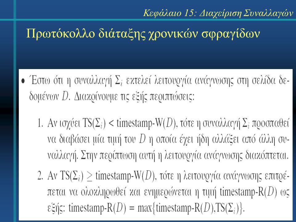 Κεφάλαιο 15: Διαχείριση Συναλλαγών Πρωτόκολλο διάταξης χρονικών σφραγίδων