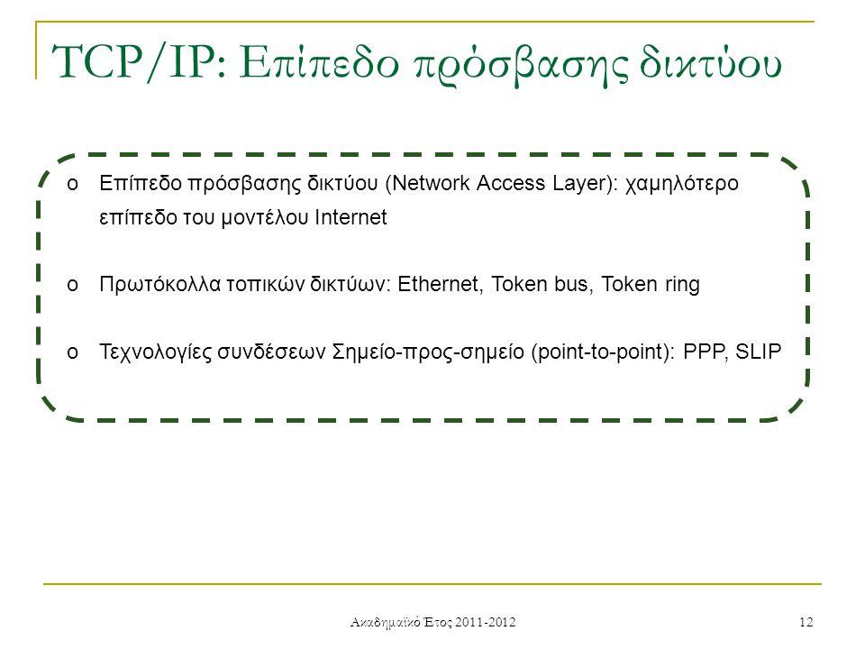 Ακαδημαϊκό Έτος 2011-2012 12 TCP/IP: Επίπεδο πρόσβασης δικτύου oΕπίπεδο πρόσβασης δικτύου (Network Access Layer): χαμηλότερο επίπεδο του μοντέλου Internet oΠρωτόκολλα τοπικών δικτύων: Ethernet, Token bus, Token ring oΤεχνολογίες συνδέσεων Σημείο-προς-σημείο (point-to-point): PPP, SLIP