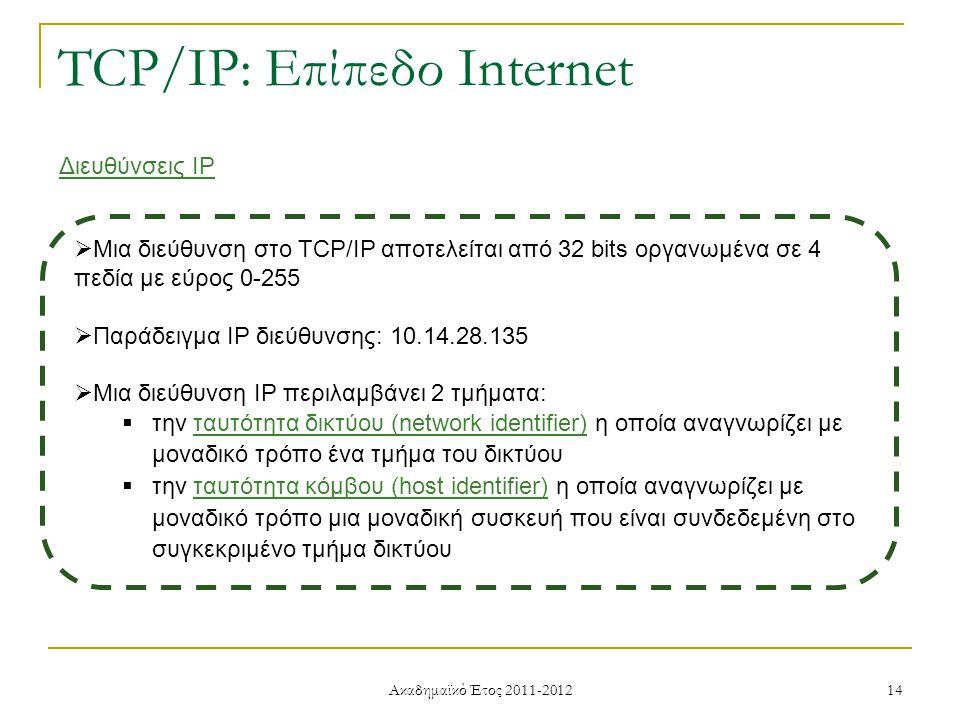 Ακαδημαϊκό Έτος 2011-2012 14 TCP/IP: Επίπεδο Internet Διευθύνσεις IP  Μια διεύθυνση στο TCP/IP αποτελείται από 32 bits οργανωμένα σε 4 πεδία με εύρος 0-255  Παράδειγμα IP διεύθυνσης: 10.14.28.135  Μια διεύθυνση IP περιλαμβάνει 2 τμήματα:  την ταυτότητα δικτύου (network identifier) η οποία αναγνωρίζει με μοναδικό τρόπο ένα τμήμα του δικτύου  την ταυτότητα κόμβου (host identifier) η οποία αναγνωρίζει με μοναδικό τρόπο μια μοναδική συσκευή που είναι συνδεδεμένη στο συγκεκριμένο τμήμα δικτύου