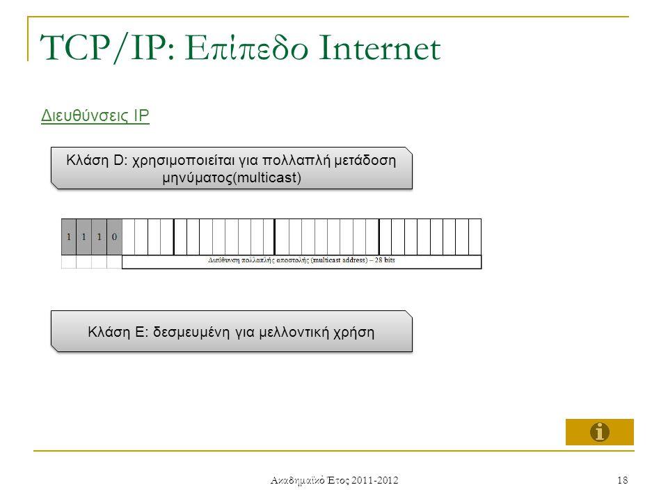 Ακαδημαϊκό Έτος 2011-2012 18 TCP/IP: Επίπεδο Internet Διευθύνσεις IP Κλάση D: χρησιμοποιείται για πολλαπλή μετάδοση μηνύματος(multicast) Κλάση E: δεσμευμένη για μελλοντική χρήση