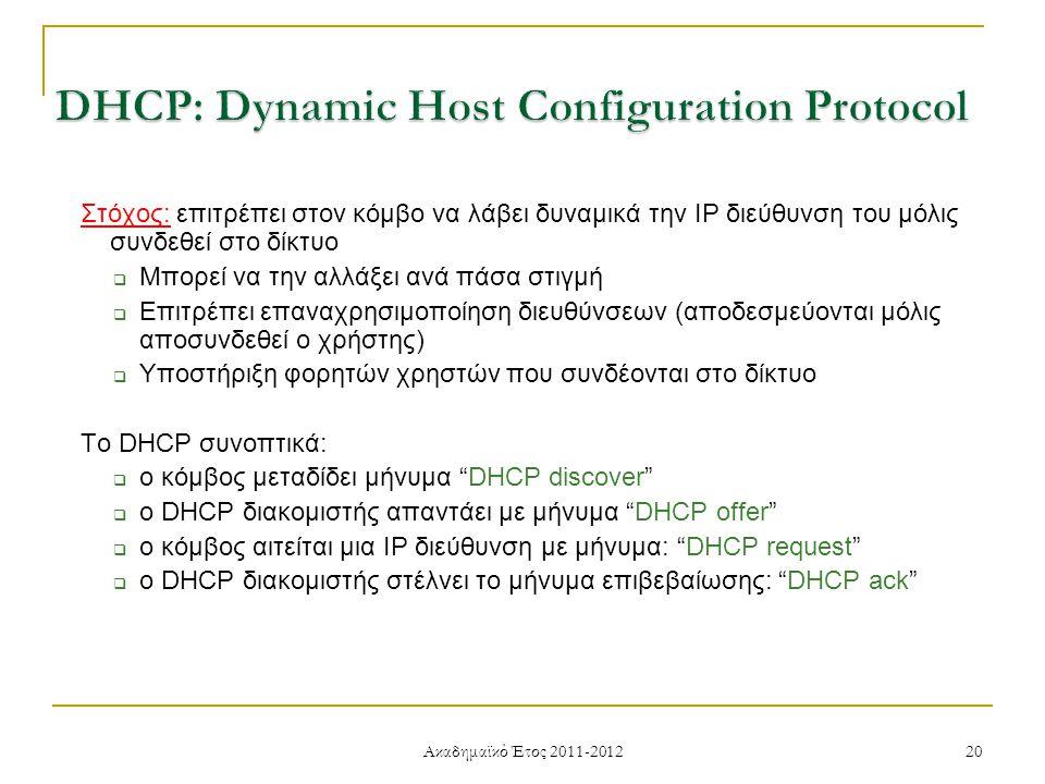 Ακαδημαϊκό Έτος 2011-2012 20 Στόχος: επιτρέπει στον κόμβο να λάβει δυναμικά την IP διεύθυνση του μόλις συνδεθεί στο δίκτυο  Μπορεί να την αλλάξει ανά πάσα στιγμή  Επιτρέπει επαναχρησιμοποίηση διευθύνσεων (αποδεσμεύονται μόλις αποσυνδεθεί ο χρήστης)  Υποστήριξη φορητών χρηστών που συνδέονται στο δίκτυο Το DHCP συνοπτικά:  ο κόμβος μεταδίδει μήνυμα DHCP discover  ο DHCP διακομιστής απαντάει με μήνυμα DHCP offer  ο κόμβος αιτείται μια IP διεύθυνση με μήνυμα: DHCP request  ο DHCP διακομιστής στέλνει το μήνυμα επιβεβαίωσης: DHCP ack