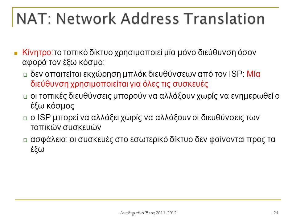 Ακαδημαϊκό Έτος 2011-2012 24 Κίνητρο:το τοπικό δίκτυο χρησιμοποιεί μία μόνο διεύθυνση όσον αφορά τον έξω κόσμο:  δεν απαιτείται εκχώρηση μπλόκ διευθύνσεων από τον ISP: Μία διεύθυνση χρησιμοποιείται για όλες τις συσκευές  οι τοπικές διευθύνσεις μπορούν να αλλάξουν χωρίς να ενημερωθεί ο έξω κόσμος  ο ISP μπορεί να αλλάξει χωρίς να αλλάξουν οι διευθύνσεις των τοπικών συσκευών  ασφάλεια: οι συσκευές στο εσωτερικό δίκτυο δεν φαίνονται προς τα έξω