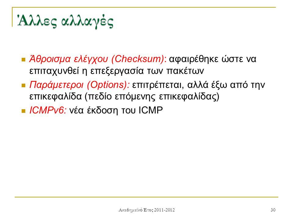 Ακαδημαϊκό Έτος 2011-2012 30 Άθροισμα ελέγχου (Checksum): αφαιρέθηκε ώστε να επιταχυνθεί η επεξεργασία των πακέτων Παράμετεροι (Options): επιτρέπεται, αλλά έξω από την επικεφαλίδα (πεδίο επόμενης επικεφαλίδας) ICMPv6: νέα έκδοση του ICMP