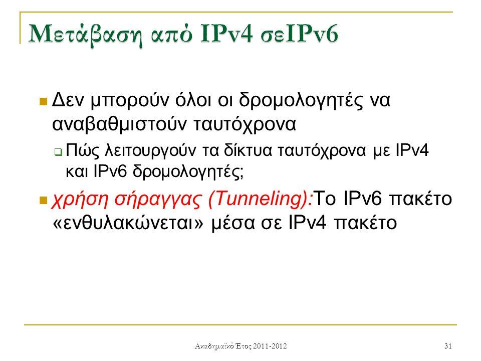 Ακαδημαϊκό Έτος 2011-2012 31 Δεν μπορούν όλοι οι δρομολογητές να αναβαθμιστούν ταυτόχρονα  Πώς λειτουργούν τα δίκτυα ταυτόχρονα με IPv4 και IPv6 δρομολογητές; χρήση σήραγγας (Tunneling):Το IPv6 πακέτο «ενθυλακώνεται» μέσα σε IPv4 πακέτο